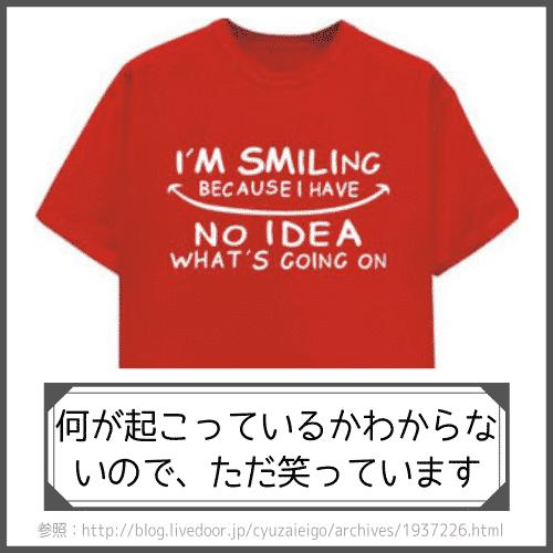 英語で書かれた面白いTシャツプリントの説明:何が起こっているかわからないので、ただ笑っています