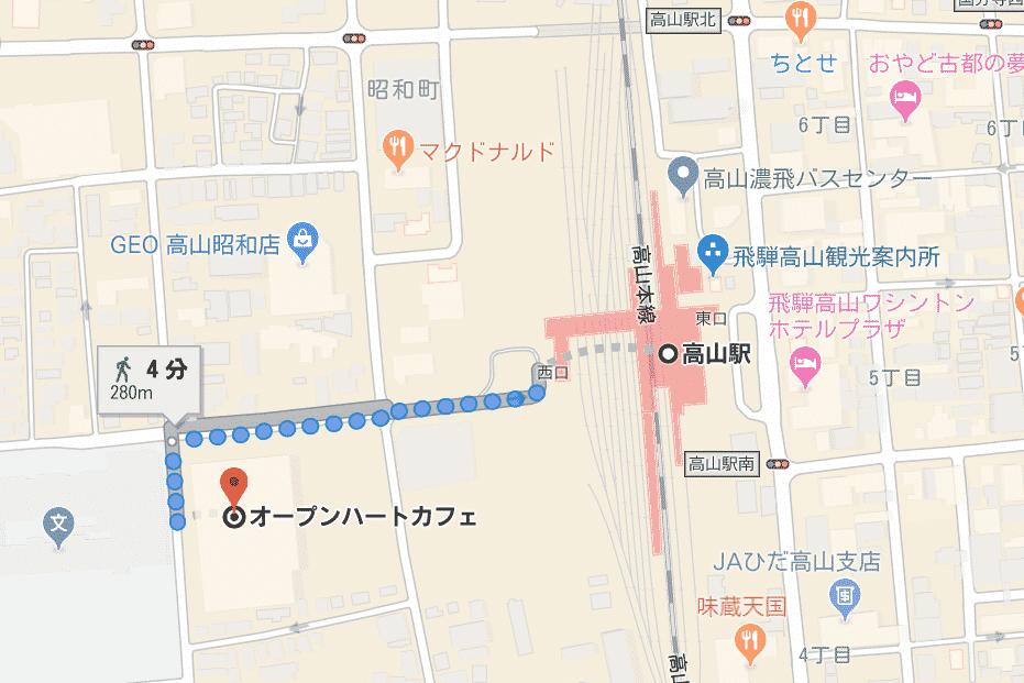 オープンハートカフェの場所を地図で示す